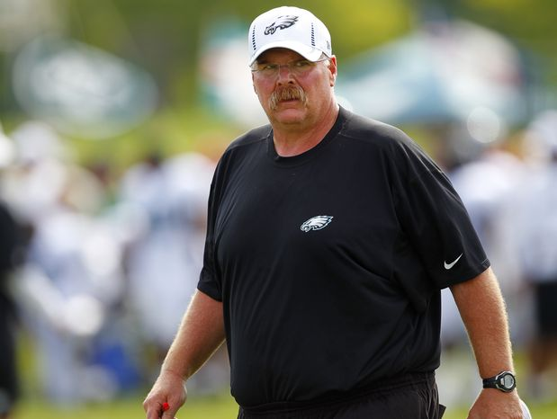 Philadelphia Eagles head coach Andy Reid watches a play during NFL football training camp at Lehigh University in Bethlehem, Pa., Monday, July 30, 2012. (AP Photo/Rich Sch