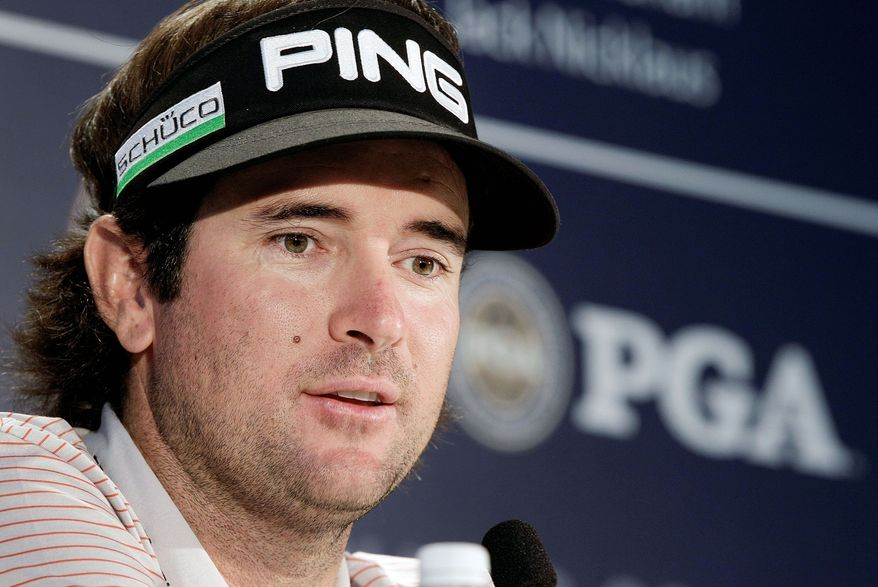 Bubba Watson answers questions in the interview room at the PGA Championship golf tournament on the Ocean Course of the Kiawah Island Golf Club in Kiawah Island, S.C., Tuesday, Aug. 7, 2012. (AP Photo/Chuck Burton)