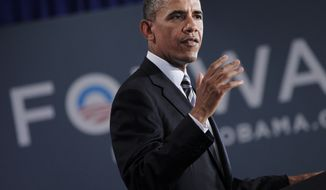 **FILE** President Obama speaks Aug., 6, 2012, at a campaign fundraiser in Stamford, Conn. (Associated Press)