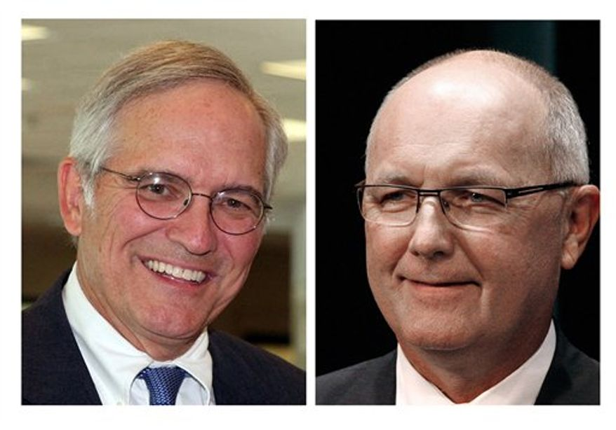 This undated combination photo shows Republicans Clark Durant (left) and former Rep. Pete Hoekstra, who were running in the Aug. 7, 2012, Michigan GOP primary. Mr. Hoekstra was declared the winner and will take on Democratic Sen. Debbie Stabenow in November. (AP Photo)