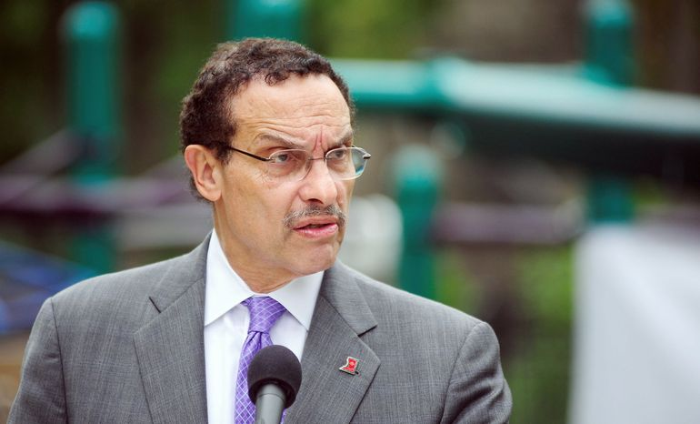 D.C. Mayor Vincent C. Gray, here speaking at the reopening of renovated New York Avenue Recreation Center and Playground, is said to be planning to offer a bill to reform the way political donations are made to city candidates for political office. (Ryan M.L. Young/The Washington Times)