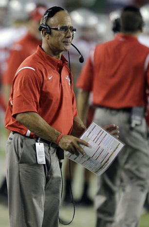 Stony Brook head coach Chuck Priore during a NCAA college football game against South Florida Saturday, Sept. 4, 2010, in Tampa, Fla. (AP Photo/Chris O'Meara)