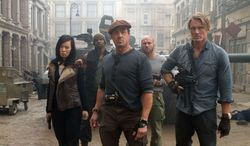 """From left: Yu Nan, Terry Crews, Sylvester Stallone, Randy Couture and Dolph Lundgren star in """"The Expendables 2."""" (Associated Press/Lionsgate-Millennium Films)"""