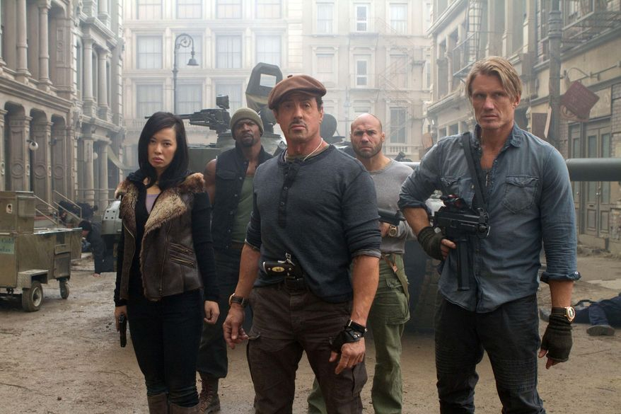 "From left: Yu Nan, Terry Crews, Sylvester Stallone, Randy Couture and Dolph Lundgren star in ""The Expendables 2."" (Associated Press/Lionsgate-Millennium Films)"