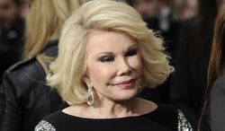 **FILE** Comedian Joan Rivers attends the E! Network upfront event at Gotham Hall in New York on April 30, 2012. (Associated Press)