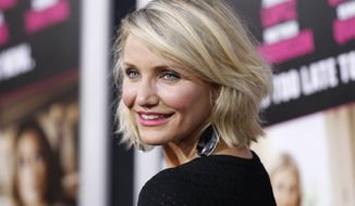 "Actress Cameron Diaz attends the Los Angeles premiere of her film ""What to Expect When You're Expecting"" on Monday, May 14, 2012. (AP Photo/Danny Moloshok)"