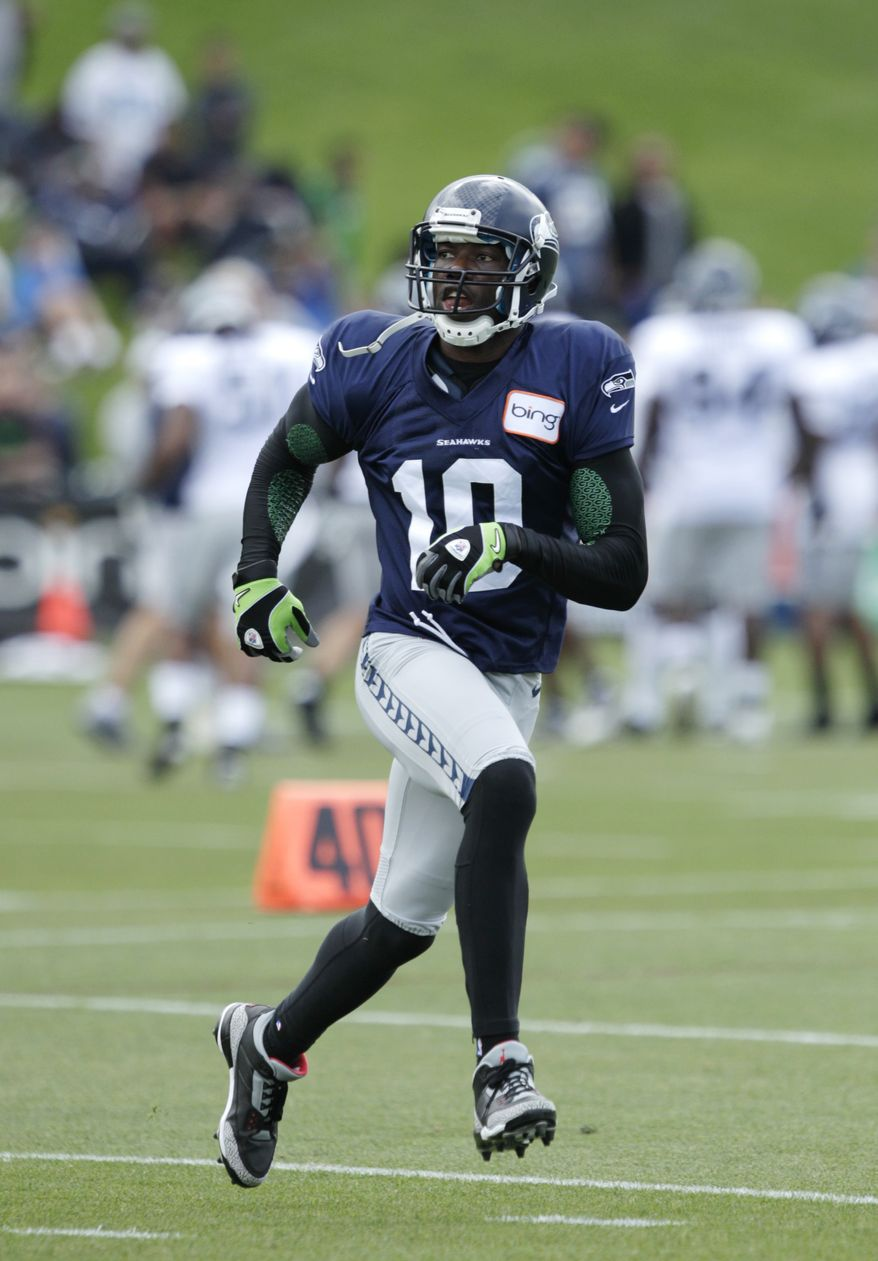 Seattle Seahawks' Terrell Owens is shown during NFL football training camp, Wednesday, Aug. 8, 2012, in Renton, Wash. (AP Photo/Ted S. Warren)