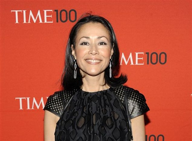 """** FILE * This April 24, 2012 photo shows NBC's Ann Curry at the TIME 100 gala at the Frederick P. Rose Hall in New York. Curry made her first return to NBC's """"Today"""" show on Thursday to introduce a filmed report on a still photographer at the London Olympics. She lost her job as Matt Lauer's co-anchor in June and was replaced by Savannah Guthrie. (AP Photo/Evan Agostini, file)"""