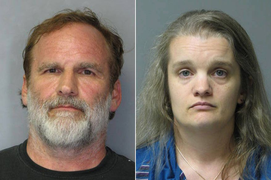 """This combination of photos released by the Delaware State Police shows Georgetown pediatrician Melvin Morse, 48, left, and his wife, Pauline Morse, 40. The couple have been charged with recklessly endangering their two daughters, including the use of a form of discipline that police say the Melvin Morse called """"waterboarding."""" They were arrested Aug. 9, 2012. (Associated Press/Delaware State Police)"""