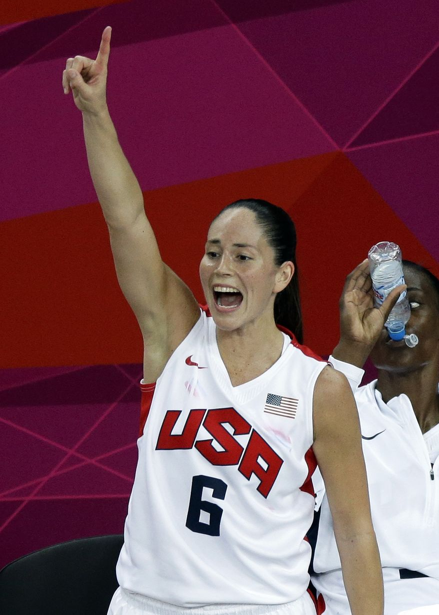 United States' Sue Bird reacts on the bench during a women's gold medal basketball game against France at the 2012 Summer Olympics, Saturday, Aug. 11, 2012, in London. (AP Photo/Victor R. Caivano)