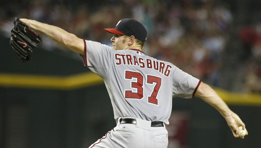 Washington Nationals starting pitcher Stephen Strasburg delivers a pitch against the Arizona Diamondbacks during the sixth inning of the Nationals' 9-1 victory on Aug. 10, 2012, in Phoenix. Strasburg allowed one hit and one run in six innings of work. (Associated Press)