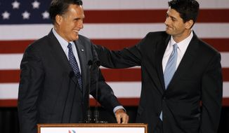 ** FILE ** House Budget Committee Chairman Rep. Paul Ryan, R-Wis. introduces Republican presidential candidate, former Massachusetts Gov. Mitt Romney before Romney spoke at the Grain Exchange in Milwaukee, in this April 3, 2012, file photo. (AP Photo/M. Spencer Green, File)