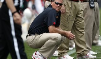 Maryland head coach Randy Edsall looks on during the team's annual Red-White spring NCAA college football scrimmage in College Park, Md., Saturday, April 21, 2012. (AP Photo/Patrick Semansky)