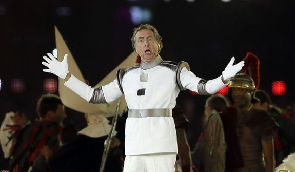 British comedian Eric Idle performs during the Closing Ceremony at the 2012 Summer Olympics, Sunday, Aug. 12, 2012, in London. (AP Photo/Kristy Wigglesworth)