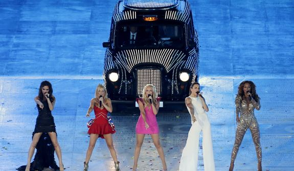 The Spice Girls perform during the Closing Ceremony at the 2012 Summer Olympics, Sunday, Aug. 12, 2012, in London. (AP Photo/Hassan Ammar)