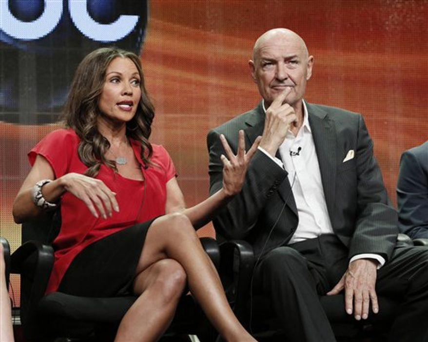 """** FILE ** This July 27, 2012 photo shows Vanessa Williams, left, and Terry O' Quinn attending the """"666 Park Avenue"""" panel at the Disney ABC TCA at the Beverly Hilton Hotel in Beverly Hills, Calif. (Photo by Todd Williamson/Invision/AP, file)"""