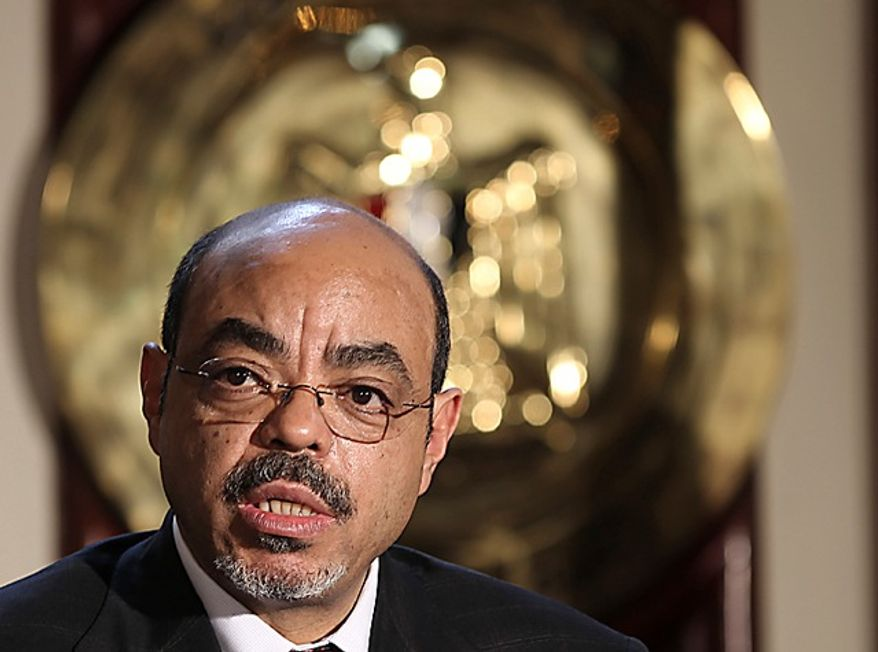 **FILE** Ethiopian Prime Minister Meles Zeinawi speaks Sept. 17, 2011, in Cairo to reporters after a meeting with Egyptian Prime Minister Essam Sharaf. (Associated Press)