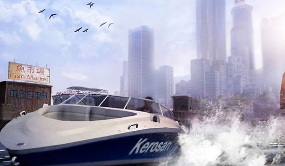Wei Shen drives a boat while a player admires the skyline in the video game Sleeping Dogs.