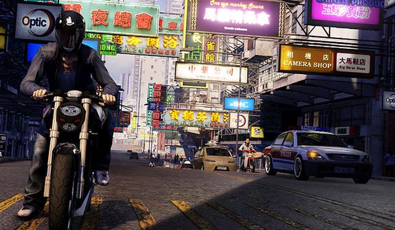 Wei Shen flies around town on his motorcycle in the video game Sleeping Dogs.