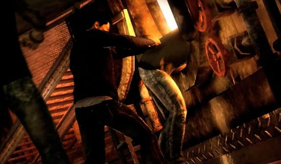 Wei Shen introduces an enemy to a furnace in the video game Sleeping Dogs.