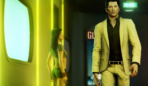 A serious Wei Shen is looking for trouble in the video game Sleeping Dogs.