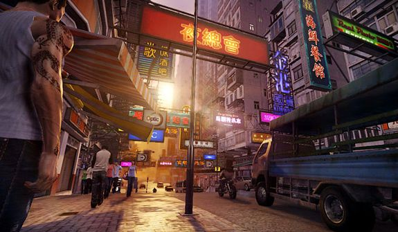 A bustling city street co-stars the video game Sleeping Dogs.