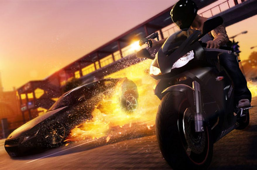 Undercover cop Wei Shen fires at a vehicle while riding a motorcycle in the free roaming, third-person action game Sleeping Dogs.