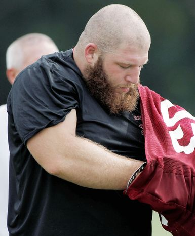 Second-year nose tackle Chris Neild was vying with Chris Baker to be the backup to Barry Cofield, but he tore an ACL in practice Monday and will be sidelined for the season. He played in all 16 games in 2011. (Associated Press)