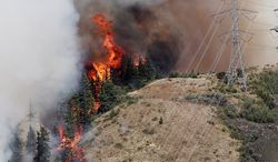 Flames from the Taylor Bridge Fire climb the side of Lookout Mountain east of Cle Elum, Wash., on Aug. 13, 2012. (Associated Press)