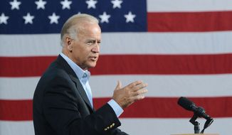 Vice President Joseph R. Biden speaks at the Institute for Advanced Research and Learning in Danville, Va., on Tuesday, Aug. 14, 2012. (AP Photo/The Register & Bee, Steven Mantilla)