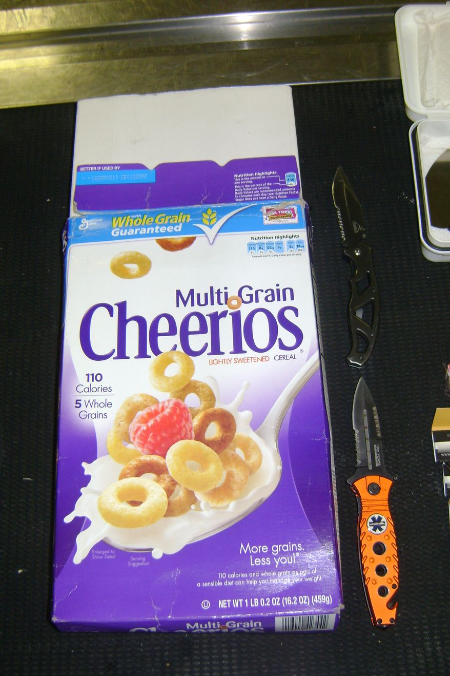 Customs and Border Protection agents found 3.6 grams of marijuana hidden in this cereal box, packed in the luggage of a 15-year-old American teen returning from France. Photo from Customs and Border Protection.
