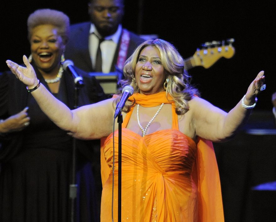 **FILE** Aretha Franklin, the Queen of Soul, performs at the Nokia Theatre in Los Angeles on July 25, 2012. (Associated Press