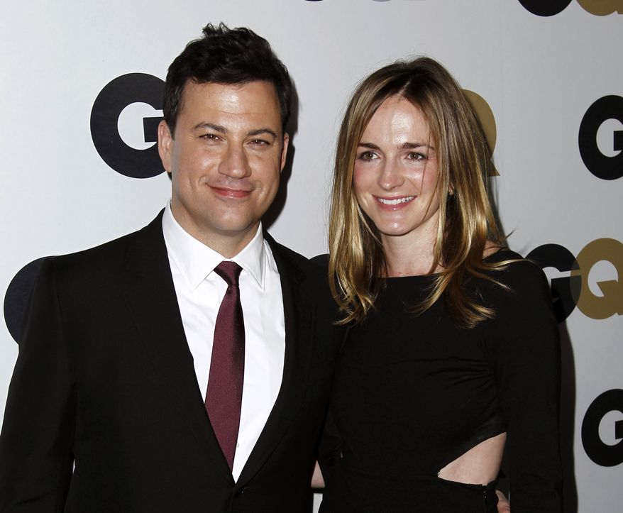 """Late-night talk-show host Jimmy Kimmel and Molly McNearney, the co-head writer on the show, arrive at the 16th annual GQ """"Men of the Year"""" party in Los Angeles on Thursday, Nov. 17, 2011. (AP Photo/Matt Sayles)"""