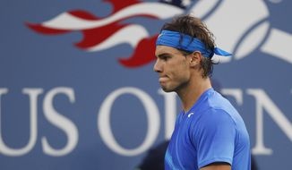 **FILE** Rafael Nadal reacts Sept. 12, 2011, during the championship match against Novak Djokovic at the U.S. Open tennis tournament in New York. (Associated Press)