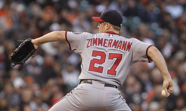Washington Nationals pitcher Jordan Zimmermann works against the San Francisco Giants in the first inning of a baseball game Tuesday, Aug. 14, 2012, in San Francisco. (AP Photo/Ben Margot)