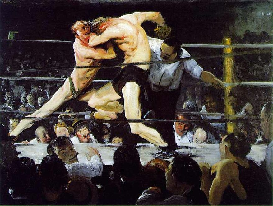 "Exhibit: George Bellows at the National Gallery of Art  The best photos of Muhammad Ali, snapped largely by Neil Leifer of Sports Illustrated, capture the boxer's ferocity (as when he's yelling into the face of a downed Sonny Liston in 1965) and intensity (another Liston moment, this one from 1964). Even more than film or prose, still photographs captures the most important moments in a fight. But there are things that even the best boxing photography cannot deliver. The specificity of a photographed moment alienates as from what happened in the seconds before and after, and from the flow of the fight. Though he died in 1925, long before boxing became the sport it is today, painter George Bellows knew how to capture the flow of a fight. 1909's ""Both Members of This Club"" shows two boxers heaving against each other; their ribs and necks pink and pulpy from not just punches, but the strain of staying in the fight. ""Stag at Sharkey's,"" from the same year, is epitome of hand-to-hand combat. Both paintings are what modern boxing photography aspires to be. To Oct. 8 at the National Gallery of Art, between 3rd and 9th Streets at Constitution Avenue NW. Phone: (202) 737-4215. Web: http://www.nga.gov/exhibitions/bellowsinfo.shtm"