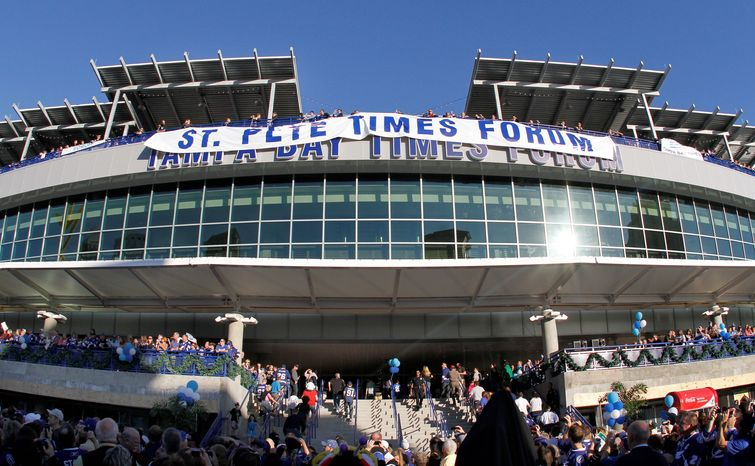 ** FILE ** This Dec. 31, 2011 file photo shows the St. Pete Times Forum unveiling its new name, The Tampa Bay Times Forum, before the start of an NHL hockey game between the Tampa Bay Lightning and C