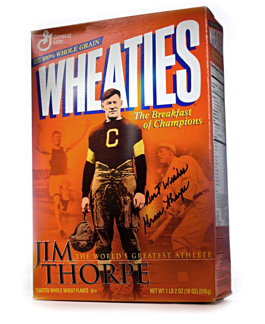 A Jim Thorpe commemorative Wheaties box, autographed by his daughter, Grace, is seen here. (Photo by S. Voss)