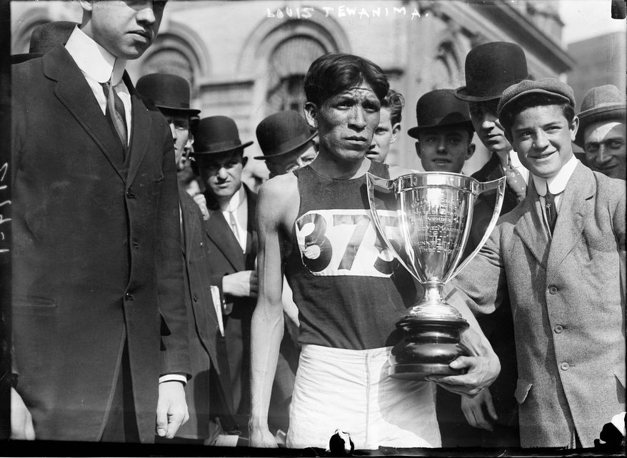 Long distance runner and Olympic medal winner Lewis Tewanima (Hopi; 1879?-1969) after winning a marathon in New York City, May 6, 1911. (Courtesy of Library of Congress, Prints and Photographs Division)