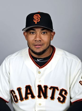 FILE - This March 1, 2012 file photo shows San Francisco Giants baseball player Melky Cabrera. Cabrera has been suspended for 50 games without pay after testing positive for testosterone. The commissioner's office says the suspension is effective immediately. Major League Baseball said on Wednesday, Aug. 15, 2012,  that Cabrera tested positive for the banned performance-enhancing substance, which violates MLB's joint drug prevention and treatment program. (AP Photo/Morry Gash, File)
