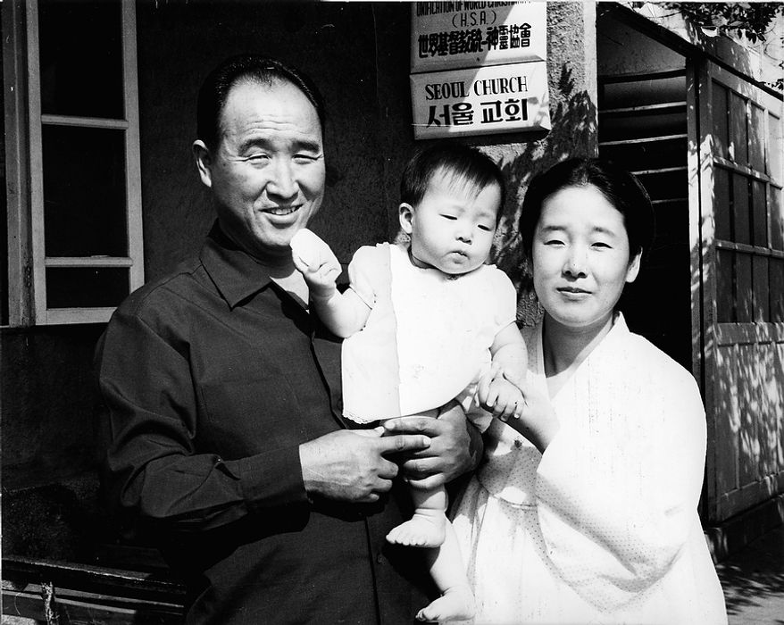 The Rev. Sun Myung Moon with his wife Hak Ja Han Moon and his  eldest daughter Ye Jin Moon. Courtesy H.S.A.-U.W.C.