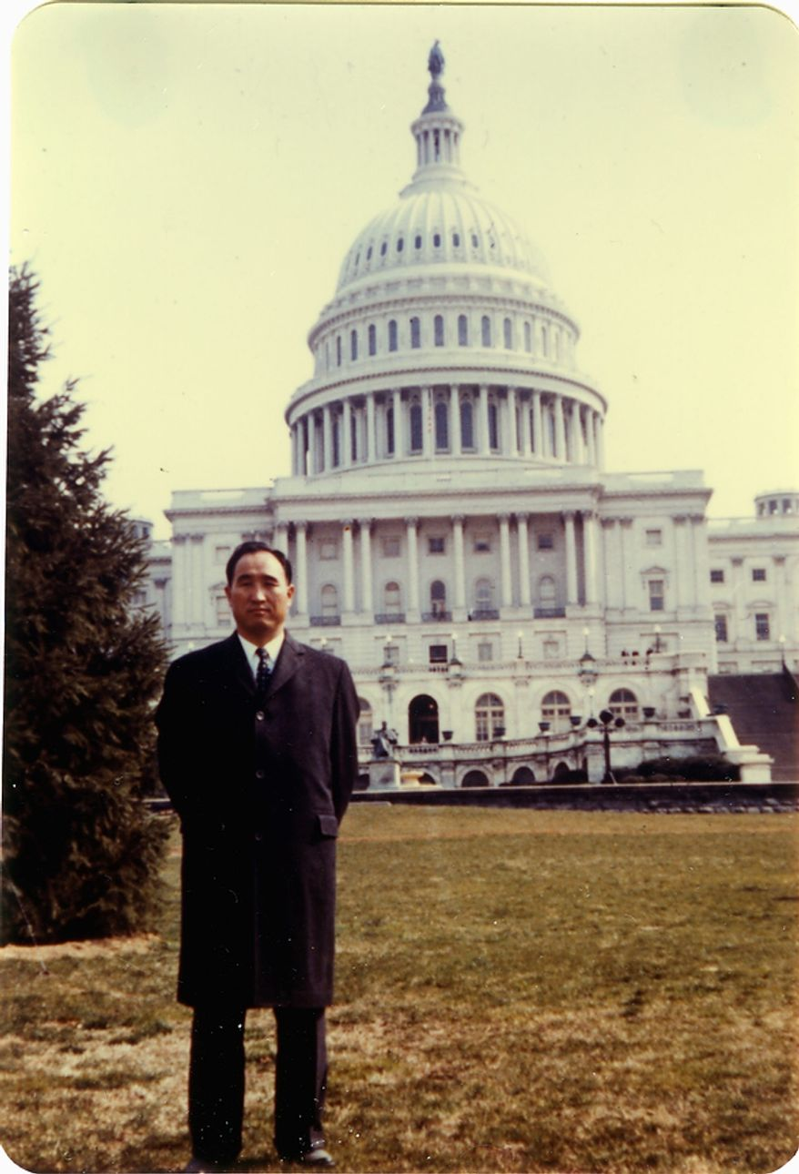 The Rev. Sun Myung Moon at the West Front of the U.S. Capitol building. Courtesy H.S.A.-U.W.C.
