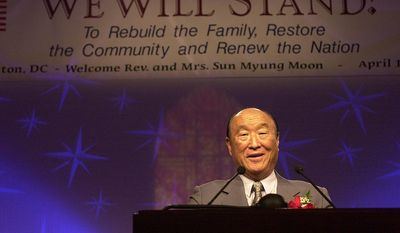 "Rev. Sun Myung Moon speaks to the clergy and worshipers at the We Will Stand 2001 National Tour, which was held at the Omni Shoreham Regency Hotel in D.C., Monday, April 16, 2001.  The 52-day, 52-cities tour had a theme of ""Rebuild the Family, Restore the Community, Renew the Nation and the World."" (Jessica Tefft / The Washington Times)"