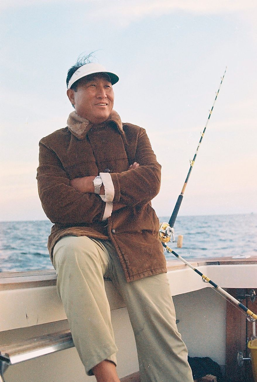 The Rev. Sun Myung Moon on one of many fishing trips. Courtesy H.S.A.-U.W.C.
