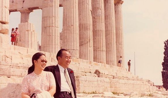 The Rev. Sun Myung Moon with his wife Hak Ja Han Moon at the Acropolis near Athens, Greece. Courtesy H.S.A.-U.W.C.