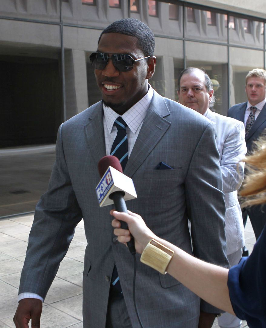 Suspended New Orleans Saints linebacker Jonathan Vilma arrives to testify at Federal Court  in New Orleans, Thursday, July 26, 2012.  Vilma seeking a temporary restraining order that would allow him to return to work while his lawsuit against NFL Commissioner Roger Goodell is pending. Goodell suspended Vilma for the entire season for what the NFL has said was his leading role in a player-funded bounty program that paid cash bonuses to Saints defensive players for hits that injured opponents. (AP Photo/Gerald Herbert)