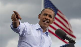 President Obama speaks Aug. 18, 2012, during a campaign event at Rochester Commons in Rochester, N.H. (Associated Press)