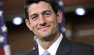 ** FILE ** In this April 13, 2011, file photo, Republican Vice Presidential candidate, House Budget Committee Chairman Paul Ryan, R-Wis., takes questions in reaction to President Obama's speech on a federal spending plan, during a news conference at the Capitol in Washington. (AP Photo/J. Scott Applewhite, File)