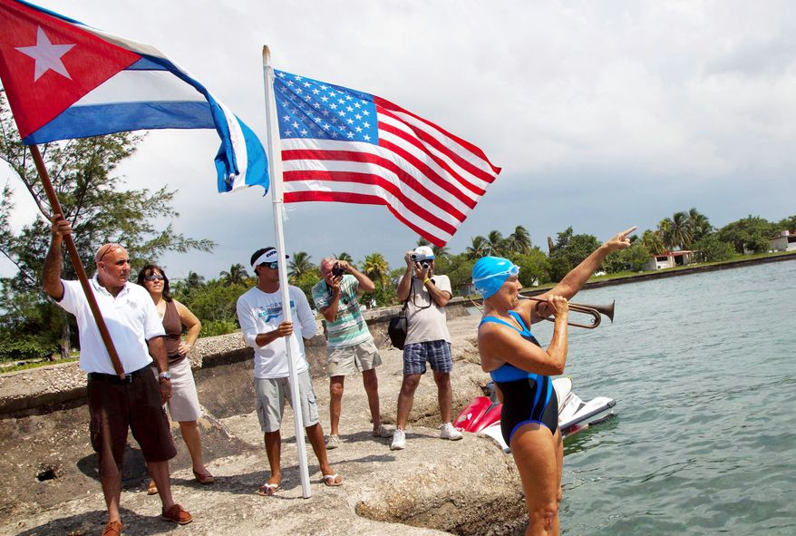 With a trumpet fanfare, U.S. endurance swimmer Diana Nyad heralds the start Saturday of her attempt to swim from Havana, Cuba, to the Florida Keys as well-wishers see her off. Ms. Nyad, who turns 63 on Wednesday, is aiming to complete the 103-mile marathon without a shark cage.