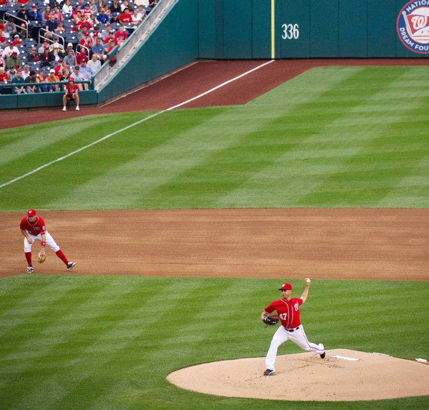 Washington Nationals pitcher Gio Gonzalez delivers in the top of the first inning. (Rod Lamkey Jr./The Washington Times)